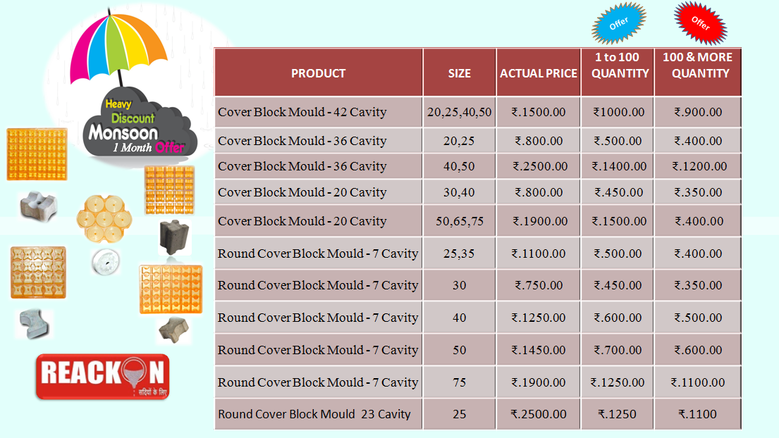 Reackon MonSoon Offer For 1 Month – Concretes Cover Block Pvc Rubber Mould